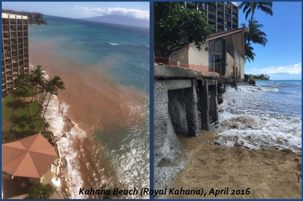 Scenic beach pictures showing extreme erosion at the very base of the Royal Kahana hotel.