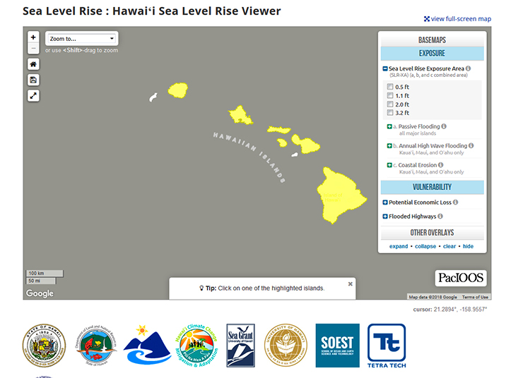 Screenshot of sea level rise viewer - map of Hawaiian Islands