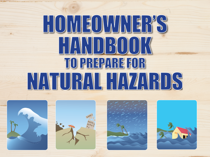 homeowner's handbook to prepare for natural hazards text and icons
