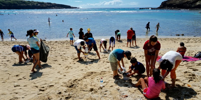 people on beach at hanauma bay cleaning up debris