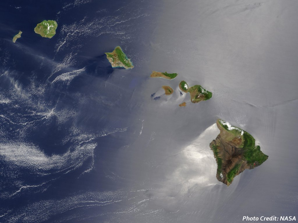 Hawaiian Islands, satellite image from NASA