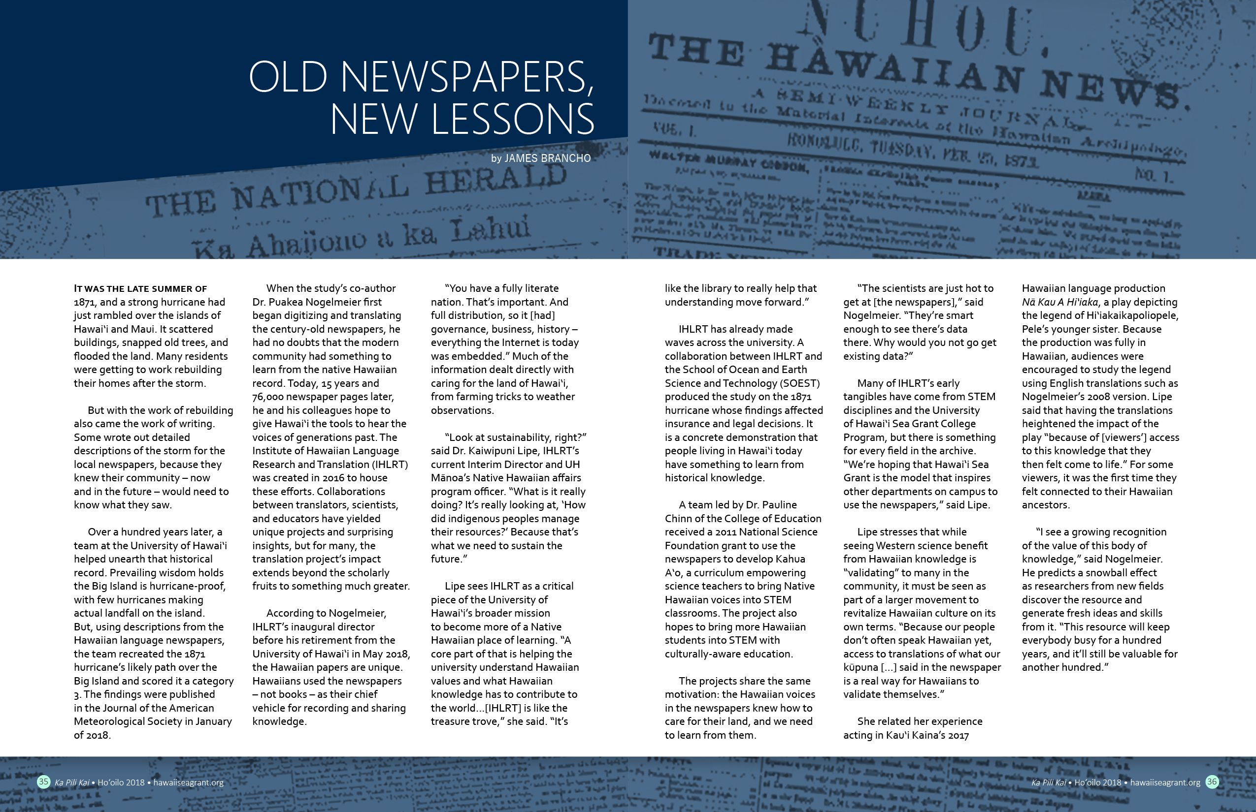 Layout view of article with old Hawaiian newspaper images in the background