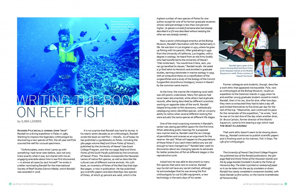 Layout view of article with a photo of jack randall diving Kwajalein Atoll waters in 1976 and second page has photod of Jack signing one of his many books at a book signing event