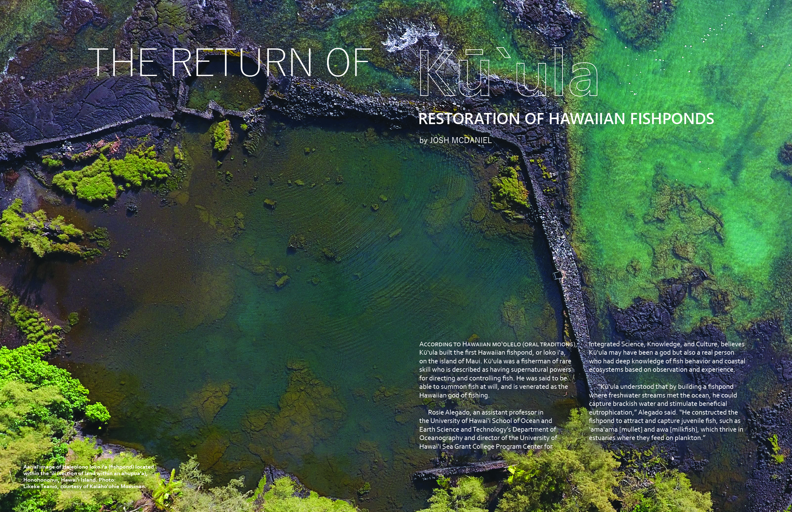 First page of article with large aerial photo of Hawaii Island fishpond and wall