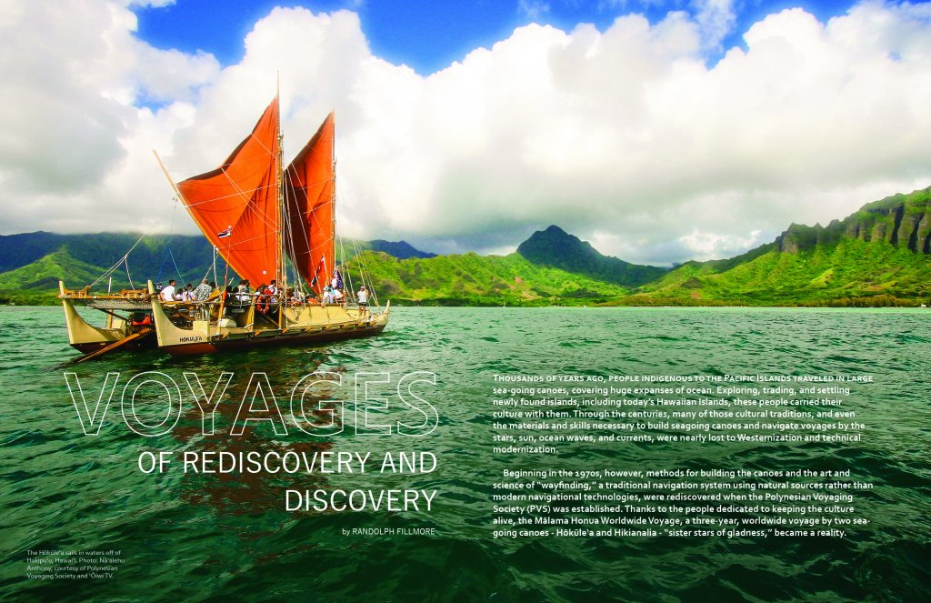 First page of article with photo of the hokulea in waters off the windward coast of oahu