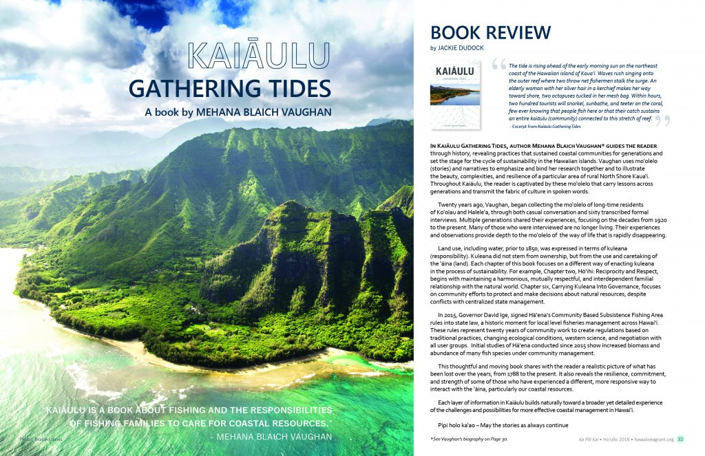 First page of article with a aerial photo of Haena, Kauai coast and mountains