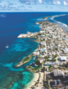 Aerial view of Ebeye Island onKwajalein Atoll.
