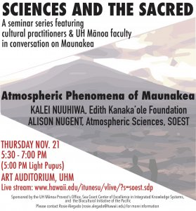 November 21 Sciences and the Sacred event flyer