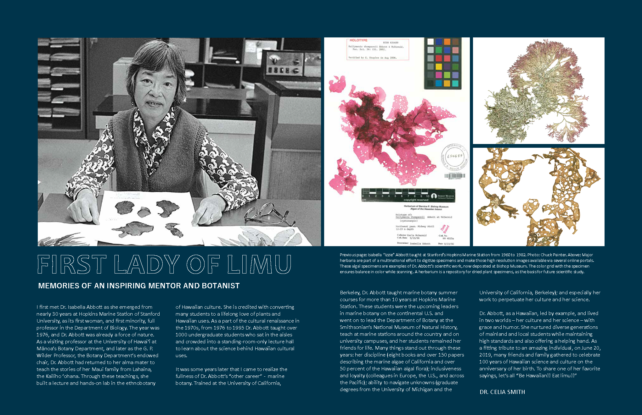 "opening spread for ""first lady of limu"" article, Ka Pili Kai Hooilo 2019"