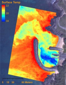 Map view of coastline with super-composed thermal data showing locations of groundwater entry of ocean