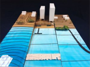 Model with a shoreline and buildings