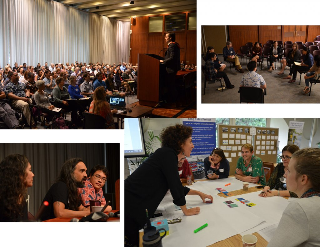 Several images depict scenes of conference attendees listening to talks and in workshops