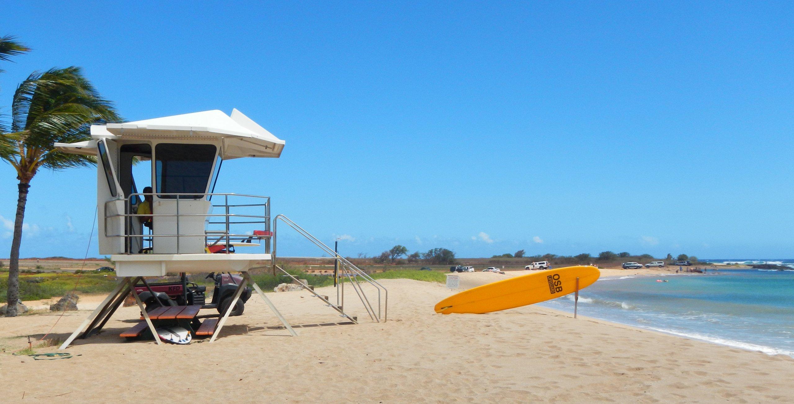Lifeguard station at Hanapepe Salt Pond Beach Park