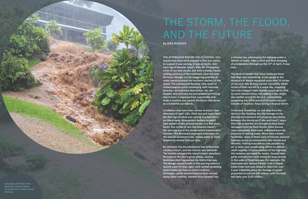 Title page layout - cascading storm waters in front of Haena home
