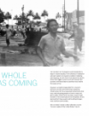 Title layout including black and white photo of people running from 1946 tsunami surge in Hilo