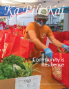 cover of magazine, person preparing farm to table bags for distribution