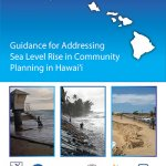 Cover of Guidance for Addressing SLR in Community Planing in Hi document. Includes three images of beach inundation/erosion.