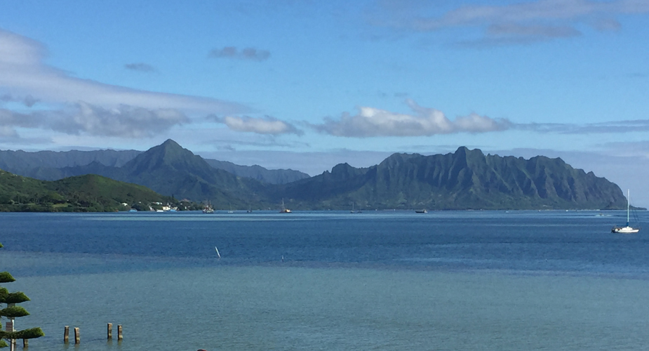 Scenic view across blue waters of Kāneʻohe Bay