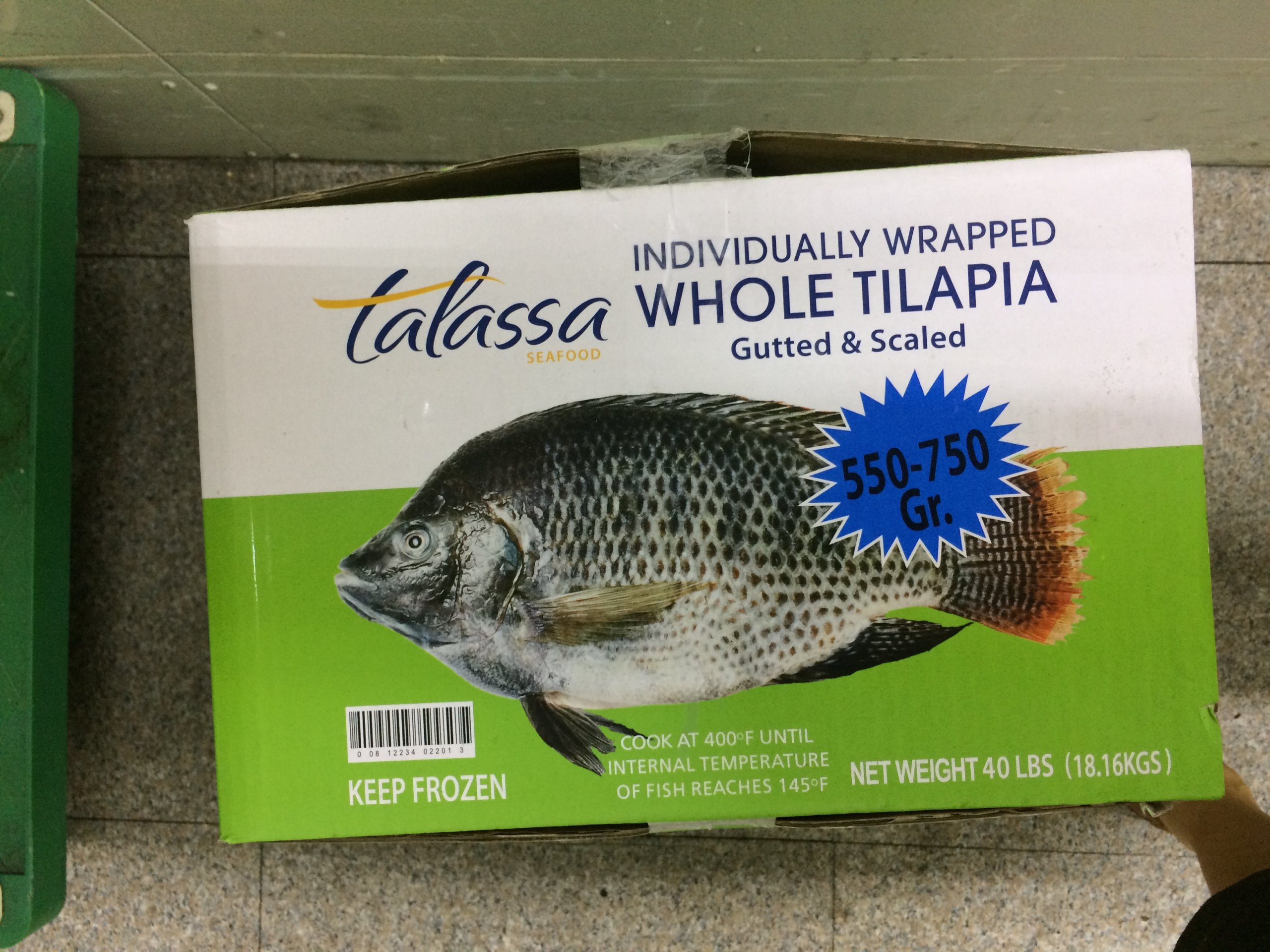 Talassa tilapia image indicating contents on frozen food box.