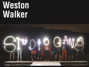 "Image of people drawing ""studio gang"" in with lights out in the night."