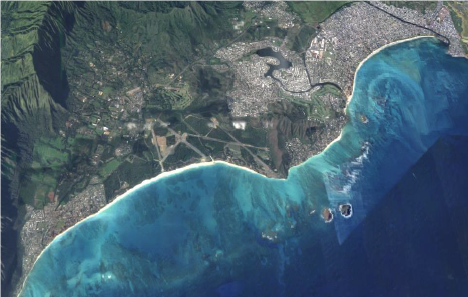satelite image of waimanalo and kailua coastline