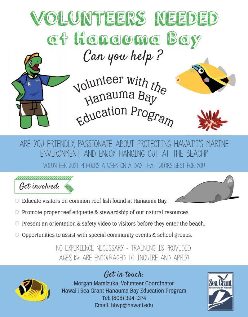 Volunteers Needed at Hanauma Bay, Volunteer with the Hanauma Bay Education Program, hbvp@hawaii.edu