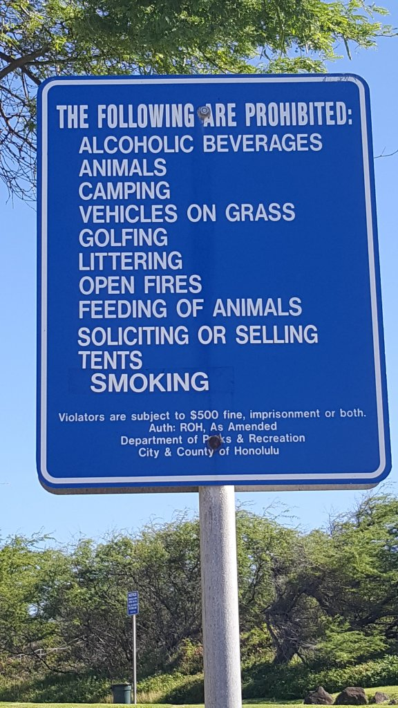 The following are prohibited Alcoholic Beverages Animals Camping Vehicles on Grass Golfing Littering Open Fires Feeding of Animals Soliciting or Selling Tents Smoking Drones Ball Playing