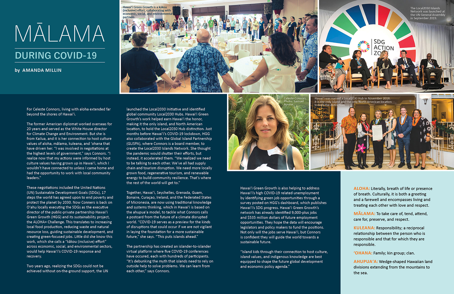 Spread for Ka Pili Kai aricle Mālama during COVID-19. Collage of photos and text highlighting the career ofCeleste Connors.