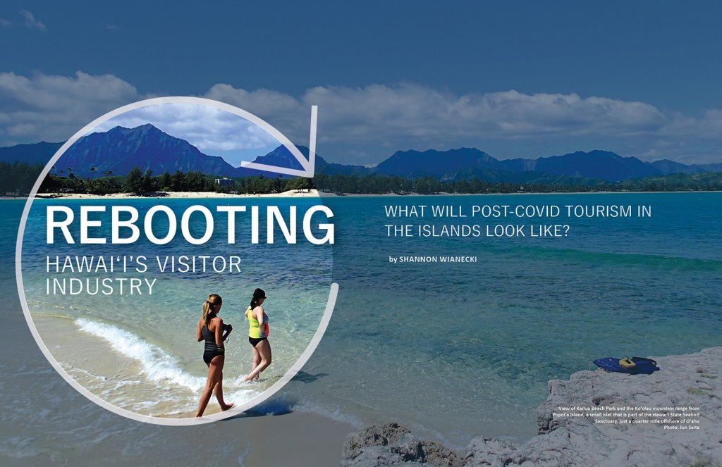 Title page for Ka Pili Kai article Rebooting Hawaii's Visitor Industry. Two swimmers entering the ocean on a sunny day.