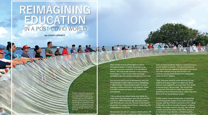 Lead spread fro Ka Pili Kai article Reimagining Education in a Post-COVID World. Group is gahtered around a long fishnet on a grassy area near the shoreline. The fish net is being pulled taut on the outer side, which forms a semi circle.