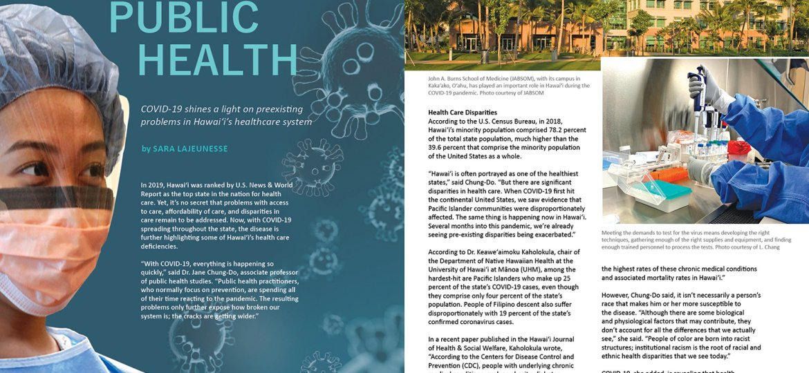 Lead spread for Ka Pili Kai article Protecting Public Health. Includes composit image of student in full PPE and COVID virus renderings, image of UH medical school building exterior and close up shot of gloved hands in a lab with a syringe-like device. and test tubes.