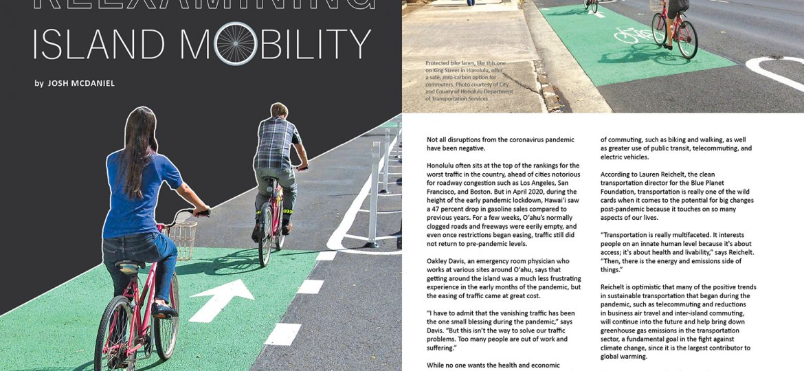 Lead spread for Ka Pili Kai article Reexamining Island Mobility. Images of two pairs of bike riders in bike lanes along a main honolulu street.