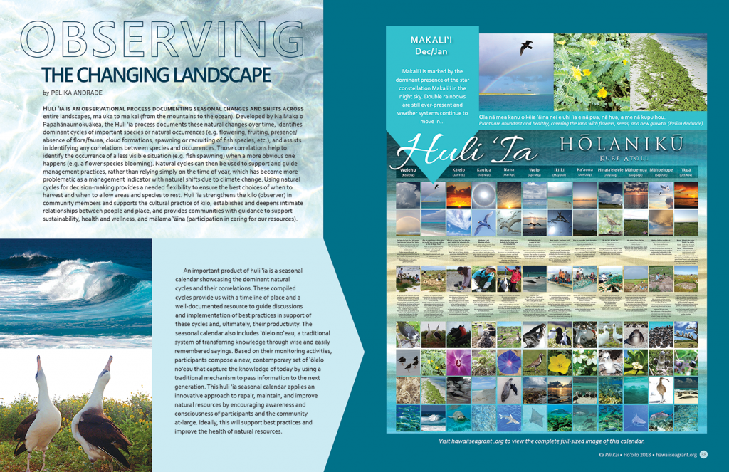 image of 2 page spread including photos of albatross, large ocean wave, and the Huli Ia Holaniku calendar full of colorful island environment thumbnail images.