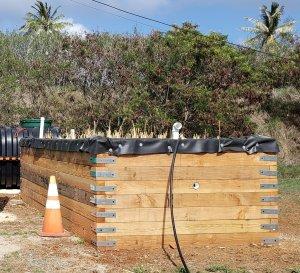 Three-foot high wooden walls enclose a small plot of soil and plants.