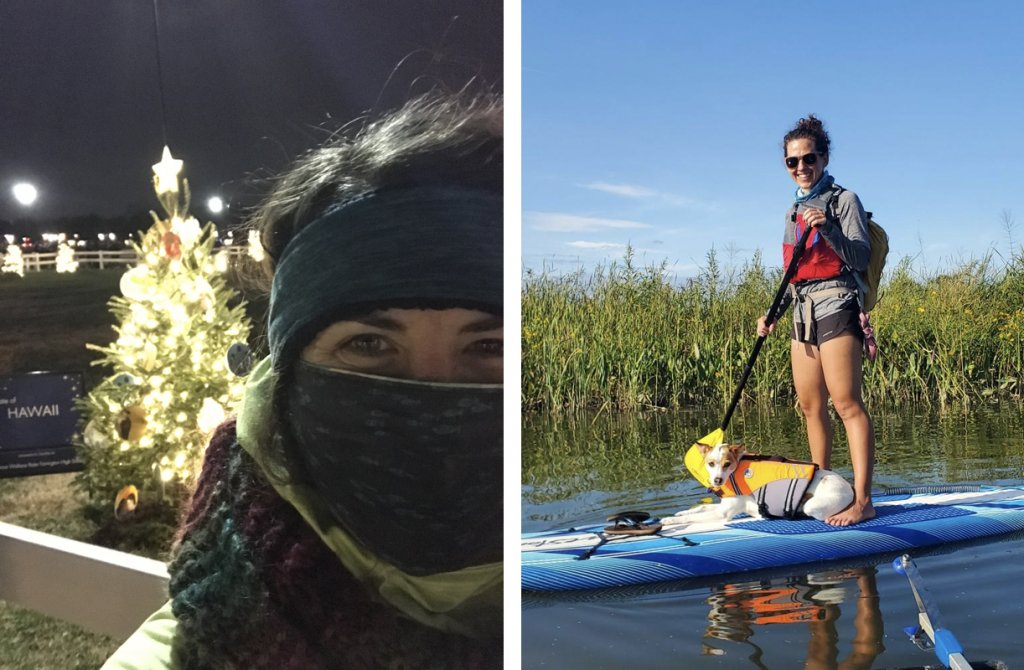 Combined images of Beth in front of a decorated tree outside, and a sunny day where Beth is standing on a paddling board with her small dog at her feet on calm water with grasses in the background