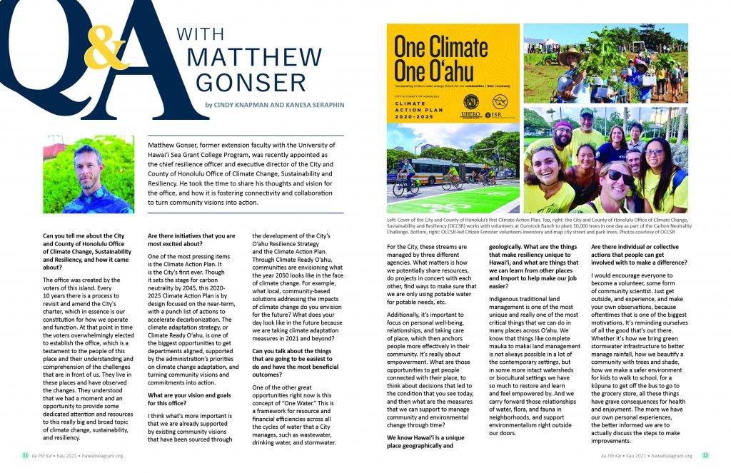 article spread including headshot of Matt Gonser and community volunteers